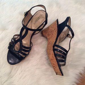 Navy, wedge sandals